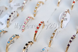 Jewelry lots Mixed Colors Lots 100pcs CZ rhinestone Rose Gold Plated Rings include box 17-19mm