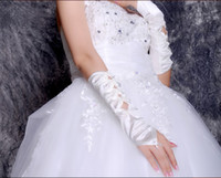 Wholesale Ladies Stretchy Satin gloves wedding bridal opera gloves White Ivory