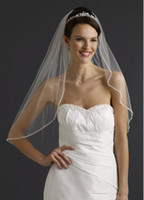 Bead Edge bead crochet - Crystal Edge Elbow Length Bridal Gown Bridal Wedding Veil White Hot sale Have in stock