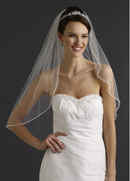 Wholesale Crystal Edge Elbow Length Bridal Gown Bridal Wedding Veil White Hot sale Have in stock