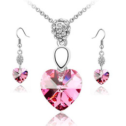 valentine Love Heart Rose Red Crystal Necklace Sets jewelry sets free and worldwide shipping fashion jewelry