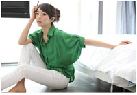 Wholesale Womens clothing Fashion Elegant Bat wing Sleeve poncho cotton Tops Shirt plus size clothes