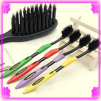 Wholesale 60pcs Adult Nano Toothbrush Bamboo Charcoal Dental Care Tooths Health Travel Family Black Yellow