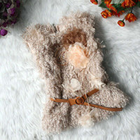 baby outer wear - 2014 New Baby Girl Autum Vest Sleeveless Waistcoat Beige Sash Belt Woolly Vest Kids Outer Wear