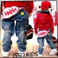 Wholesale ISSOKIDS Children Denim Blue Jenas Shark Mouth Teech Print Elastic Cowboy Kids Jean Pant