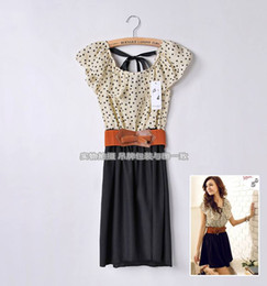 Wholesale Japan Korean Women Summer New Fashion Short sleeve Dots Polka Empire Dress with belt