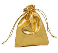 Wholesale 100pcs Gold Tone Satin Gift Bags With Drawstring x9cm