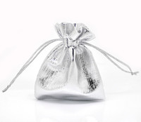 Jewelry Pouches,Bags silver  100pcs Silver Plated Satin Gift Bags With Drawstring 9x7cm