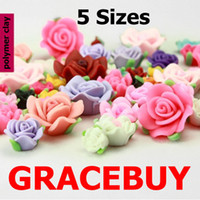 Wholesale 5 Sizes Mixed D Colorful Flower Bead Ruffled Fimo Polymer Clay Rose Charms Spacer Flatback Jewelry