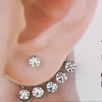 Stud Unisex White Rhinestone Bridal Jewelry Fashion Bridal Earrings Ear Cuff Jewelry 12Pcs lot Free shippng
