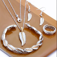 Wholesale Hot new Silver Jewelry Set Necklace earrings rings bracelets feather combined