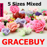 Wholesale 8MM MM D Colorful Flower Bead Fimo Polymer Clay Rose Spacer Flatback Fit Bracelets Necklace etc