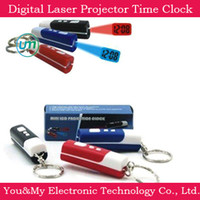 Wholesale Digital Laser Projector Novelty Key Chain Projection Time Clock Clock Christmas Gifts
