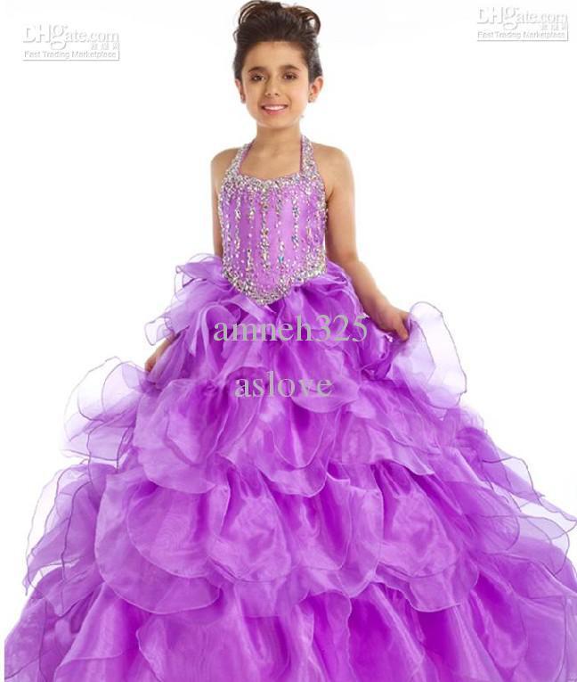 Purple Halter Children Dresses Flower Girl Pageant Holiday Prom ...