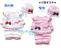 Wholesale TOP QUALITY Children s clothing baby girls sleeveless bowknot lace dress Pants hat