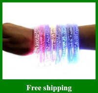 Halloween as shown  Hot LED Colorful Flashing Bracelet Light Blinking Crystal Bracelets party and gifts Free Shipping
