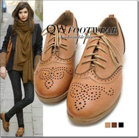 Wholesale Womens shoes oxford Vintage Cut Out Style Oxfords British Style Lace Up Front Flat Shoes