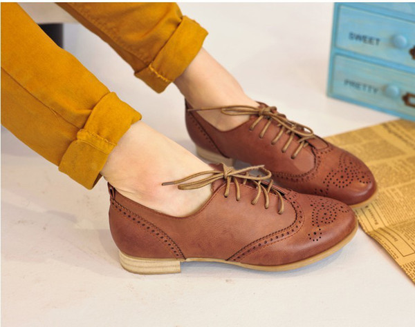 Free drop shipping girls fashion flats for women Oxfords shoes woman casual Ladies 2013 spring news lace up black nude SXX03052