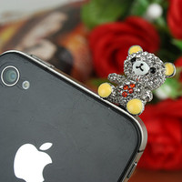 Wholesale Cute Bear Ear Cap Earphone Jack Anti dust Plug for G mp3 Mobile Phone