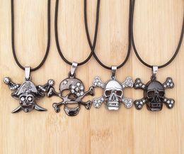 Titanium Stainless Steel Diamond Skull Pendant Necklaces Fashion Leather Cord Jewelry men xmas gifts new 12pcs