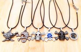 Vintage Leather Cord Titanium Stainless Steel Skull Pendant Necklaces Stylish Jewelry Men women20pcs