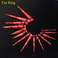 Wholesale 100Pcs Acrylic Red Ear Tunnel Plug Ring Taper Piercing Jewelry Body Jewelry ERBJ08