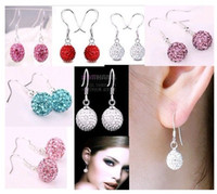 Wholesale 32pairs mm Silver Shining Crystal Disco Ball Bead Micro Pave Beads Dangle Earrings
