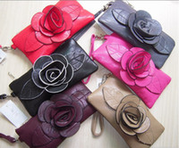 Wholesale 2016 New PU leather camellia flower leaf long zip wallets purse card wallet bag burse many color
