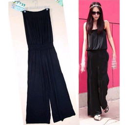 Wholesale 10 OFF New Fashion Women s Plus Size Casual Wide Leg Pants Jumpsuits Black
