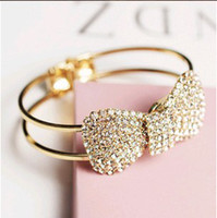 Wholesale Cool fashion butterfly knot wide bracelet with full shinning diamond pc delivery
