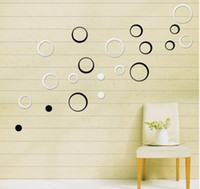 Wholesale 3D Removable Wood Wall Glass D Wall Sticker D Effect home decor Shapes Decoration