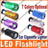 Wholesale 60pcs H43 Mini Car Cigarette Lighter LED Flashlight Torch Rechargeable Colors Optional