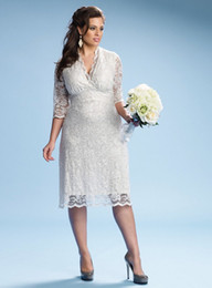 Wholesale Ivory Luxe Lace Plus Size Beach Wedding Dresses V Neck Tea Length Three Quarter Sleeves Custom Made