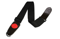 Wholesale Adjustable Comfortable Cotton Strap Black Red Leather End for Guitar Strap