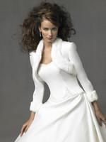 beautiful trim - Beautiful Wedding Jacket Long Sleeved Bridal Bolero Jacket with Faux Fur Trim for Winter