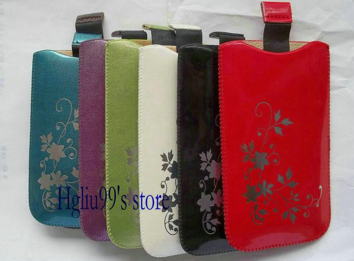 Colorful Flower Shiny Skin Soft PU leather pouch case cover Mobile ...