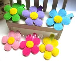 Wholesale Colorful sun flower cinquefoil baby hair clips children Infant hair clip