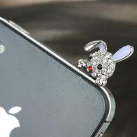 al por mayor liebres-Lovely conejo orejera auricular Jack anti-polvo plug para 3G mp3 teléfono móvil
