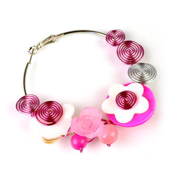 aluminium wire wrapped earring with mother of pearl shell flower,ER-578