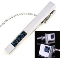 Wholesale Retail set Top Grade Austrian Crystal Platinum Tie Tack Cufflinks Set Men Luxury Tie Clip Cuffs Box