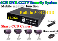 Wholesale 4CH CCTV Security System Channel H Net DVR Standalone Four TVL IR Outdoor Camera GB HDD
