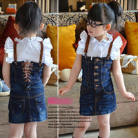 Sleeveless jean dresses and skirts - girls blouse and denim jeanswear jean Wrapped chest romper suspender dress skirts overalls sets