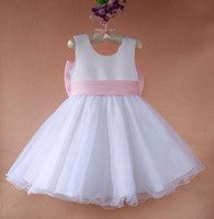 Wholesale New Georgett Girls White Party Dress Baby Bow Sleeveless Skirt BD