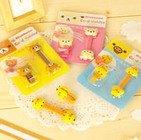 Wholesale FreeShip Packs Rilakkuma Bear Cartoon Cable Tie Fastener Organizer Smart Muted Line Fixer