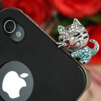 al por mayor el enchufe del auricular del gatito-Lovely Rhinestone Hello Kitty Auriculares Jack Anti-polvo Plug Moda Oído Cap