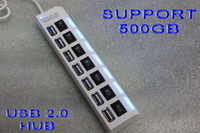 Wholesale SEVEN Ports USB2 Hub High Speed with LED Support GB Free AC Power Supply a