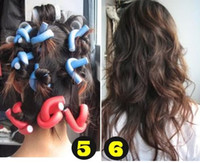 Wholesale Mix colors Round Curly Rollers flexi Rod Bendy Form Bendy Curlers Foam Hair Soft sponge styling