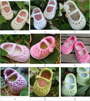 Wholesale Crochet baby cute shoes first walker shoes Mary Jane cotton yarn M pairs