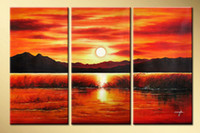 Wholesale Fine Arts Modern Abstract Oil Paintings Museum Quality Painting Seascape Sunset Triptych Cool Art