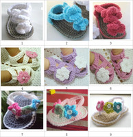 Girl baby yarn lot - Crochet baby girl flower shoes double sole sandals mix design M size cotton yarn pairs